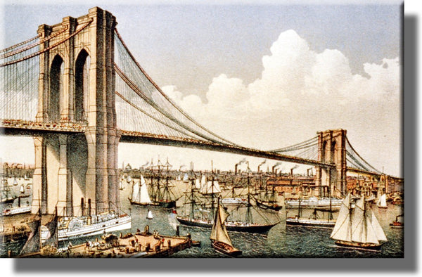 Brooklyn Suspention Bridge NYC Picture on Stretched Canvas, Wall Art Décor, Ready to Hang!