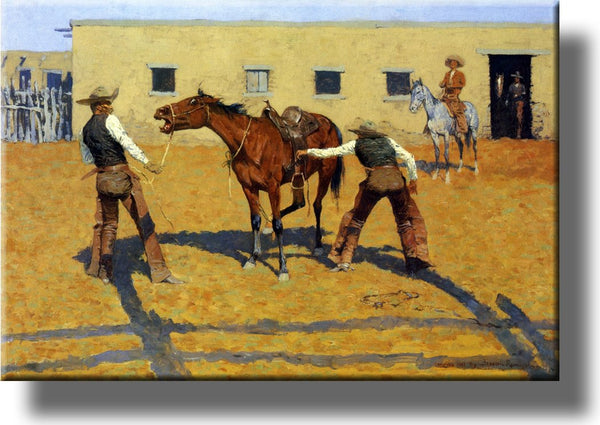 His First Lesson from Cowboy by Remington Picture on Stretched Canvas, Wall Art Décor, Ready to Hang!