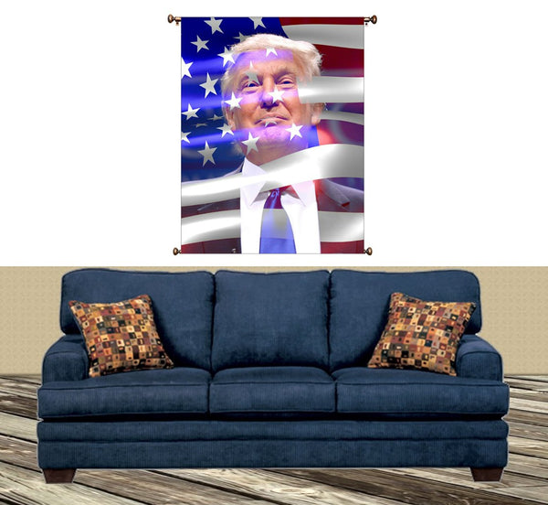 Donald Trump and American Flag Picture on Large Canvas Hung on Copper Rod, Ready to Hang, Wall Art Decor
