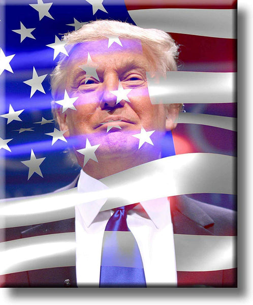 President Donald Trump with USA Flag Picture on Stretched Canvas, Wall Art Décor, Ready to Hang