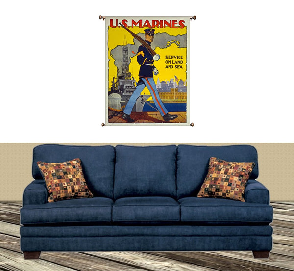 US Marines Land and Sea Picture on Canvas Hung on Copper Rod, Ready to Hang, Wall Art Décor