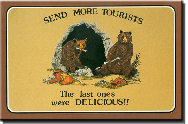 Funny Tourists Sign, Bears Ate Tourists Picture on Stretched Canvas Wall Art Decor Sign Ready to Hang!.