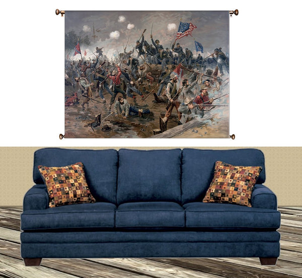 Civil War Battle Painting Picture on Canvas Hung on Copper Rod, Ready to Hang, Wall Art Décor