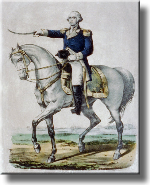 George Washington Leading Charge Historic Picture on Stretched Canvas, Wall Art Décor, Ready to Hang!