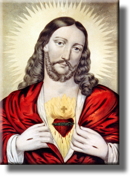 The Sacret Heart of Jesus Picture on Stretched Canvas, Wall Art Decor, Ready to Hang!