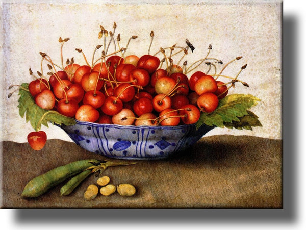 Chinese Plate of Cherries by Garzoni, Picture on Stretched Canvas Wall Art Décor, Ready to Hang!