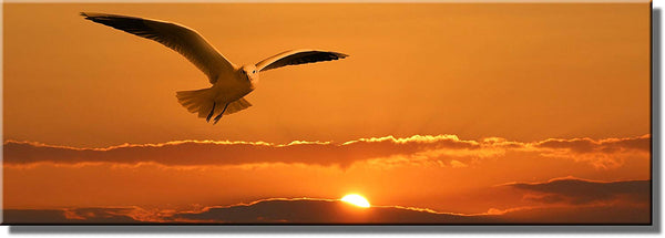Beautiful Sunset and Bird Picture on Stretched Canvas, Wall Art Decor, Ready to Hang!