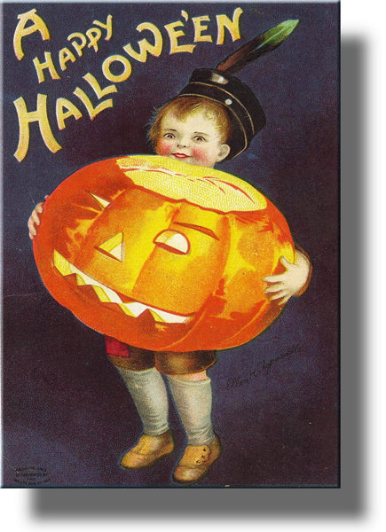 Boy Holding Jack-o'-Lantern Halloween Pumpkin Picture on Stretched Canvas Wall Art Décor, Ready to Hang!