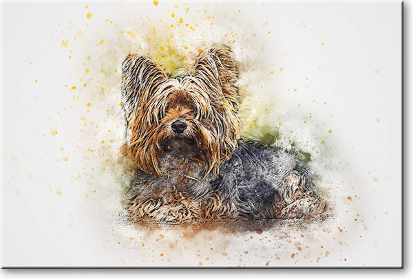 Puppy Drawing Picture on Stretched Canvas, Wall Art Decor, Ready to Hang