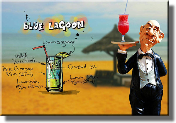 Blue Lagoon Waiter Drink Picture on Stretched Canvas, Wall Art Decor, Ready to Hang!