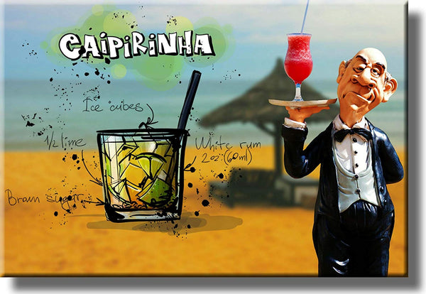 Caipirinhna Waiter Drink Picture on Stretched Canvas, Wall Art Decor, Ready to Hang!