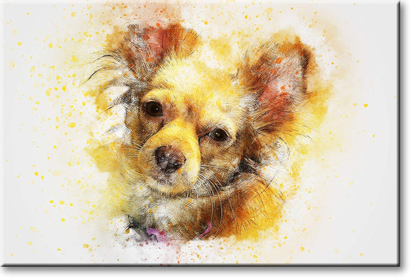 Yellow Orange Dog Picture on Stretched Canvas, Wall Art Décor, Ready to Hang