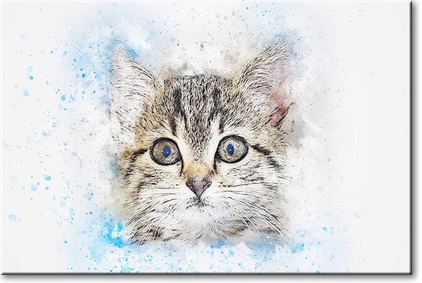 Kitten Head Picture on Stretched Canvas, Wall Art Décor, Ready to Hang