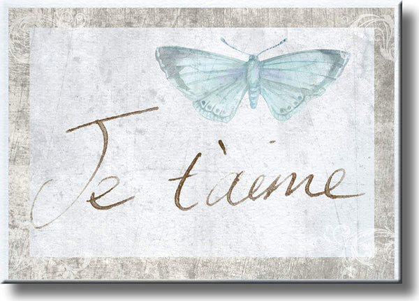 Je T'aime French Love Picture on Stretched Canvas, Wall Art Décor, Ready to Hang