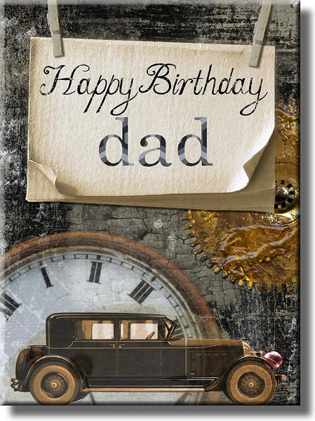 Happy Birthday Dad, Vintage Car Picture on Stretched Canvas, Wall Art Décor, Ready to Hang