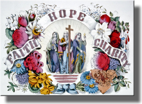 Hope, Faith, Charity Picture on Stretched Canvas Wall Art Decor Framed Ready to Hang!