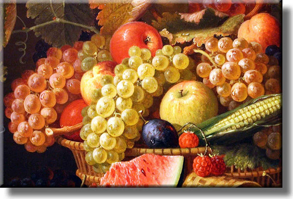 Grapes and Apples Fruit Basket Kitchen Picture on Stretched Canvas, Wall Art Décor, Ready to Hang