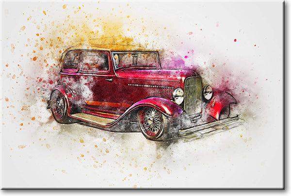 Classic Red Car Picture on Stretched Canvas, Wall Art Décor, Ready to Hang