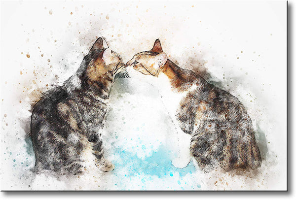 Two Cats Kissing Picture on Stretched Canvas, Wall Art Decor, Ready to Hang