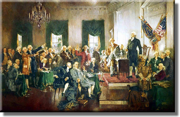 Signing of Constitution by Howard Christy Picture on Stretched Canvas, Wall Art Décor, Ready to Hang