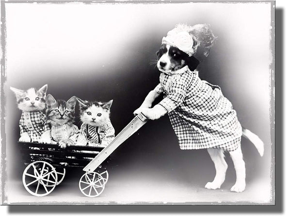 Dog Pushing Kittens in a Cart Picture on Stretched Canvas, Wall Art Decor Ready to Hang!.