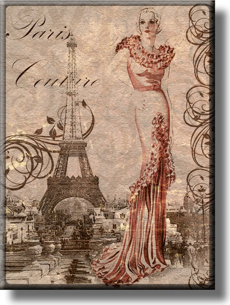 Paris Couture Fashion Picture on Stretched Canvas, Wall Art Décor, Ready to Hang
