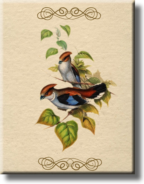 Two Birds on a Branch Vintage Picture on Stretched Canvas, Wall Art Decor, Ready to Hang
