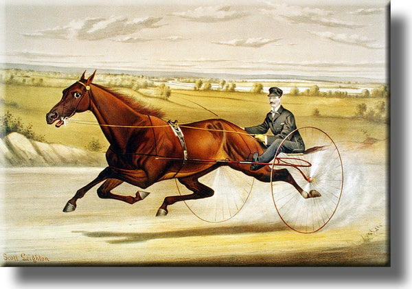 Horse Carriage Race Picture on Stretched Canvas, Wall Art Décor, Ready to Hang!