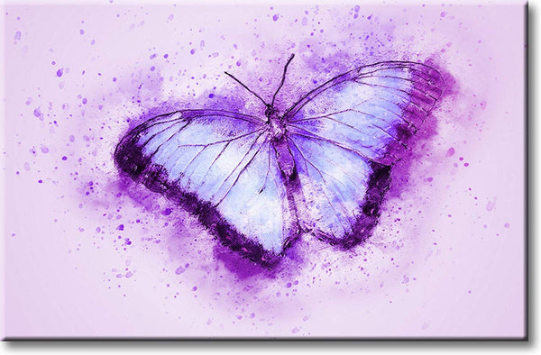 Beautiful Purple Butterfly Picture on Stretched Canvas, Wall Art Décor, Ready to Hang