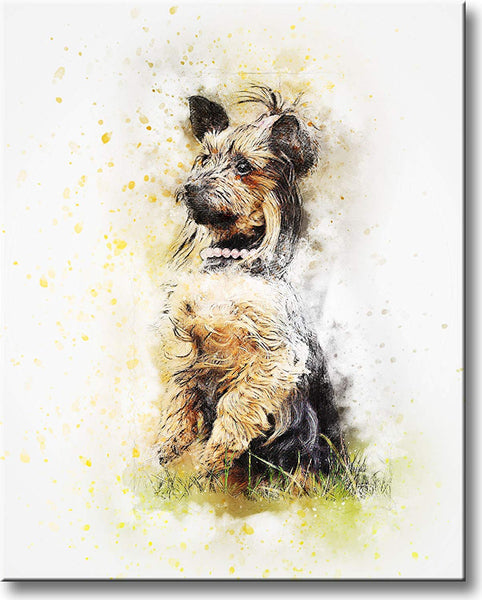 Dog in Grass Picture on Stretched Canvas, Wall Art Décor, Ready to Hang