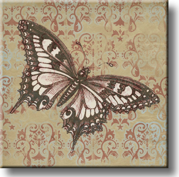 Vintage Butterfly Picture on Stretched Canvas, Wall Art Decor, Ready to Hang
