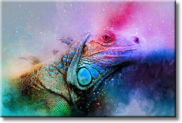 Colorful Iguana Picture on Stretched Canvas, Wall Art Décor, Ready to Hang