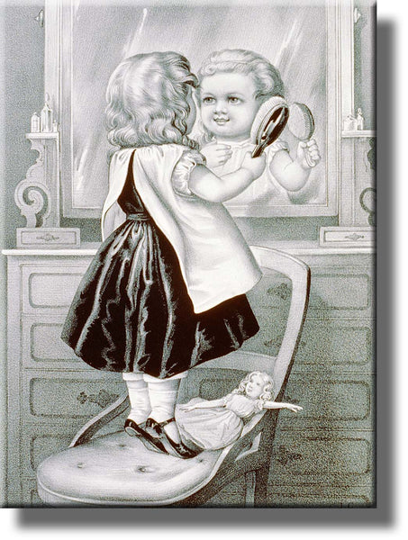 Girl Brushing Hair Vintage Picture Made on Stretched Canvas Wall Art Decor Ready to Hang!.