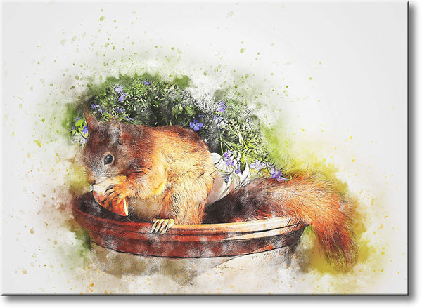 Squirrel Painting Picture on Stretched Canvas, Wall Art Decor, Ready to Hang