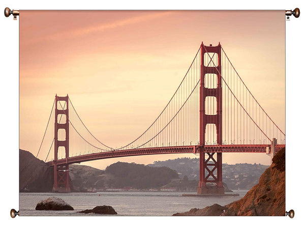 Golden Gate Bridge, San Francisco Picture on Canvas Hung on Copper Rod, Ready to Hang, Wall Art Décor