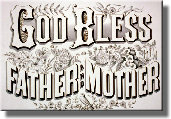 God Bless Father and Mother Picture Made on Stretched Canvas Wall Art Decor Ready to Hang!.