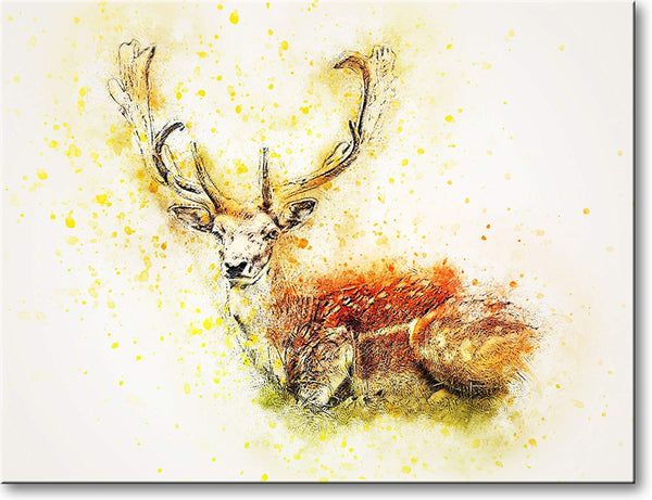 Deer Drawing Picture on Stretched Canvas, Wall Art Décor, Ready to Hang