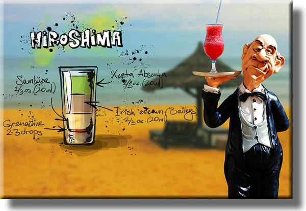 Hiroshima Cocktail Recipe Drink Picture on Stretched Canvas, Wall Art Decor, Ready to Hang!