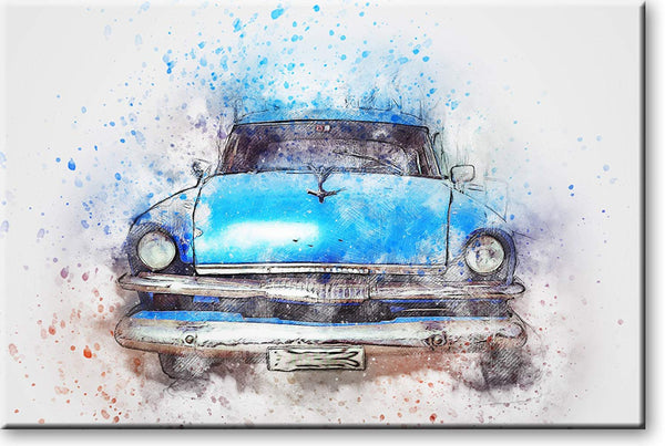 Vintage Blue Classic Car Picture on Stretched Canvas, Wall Art Decor, Ready to Hang