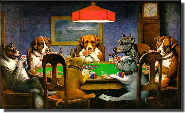 Dogs Playing Poker, Ace in the Paw Wall Picture on Stretched Canvas, Wall Decor Ready to Hang!