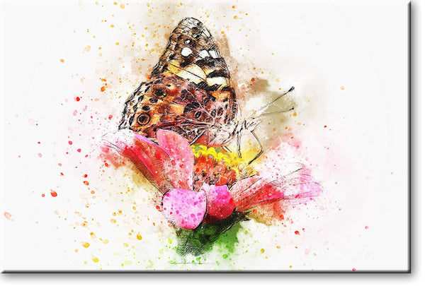 Beautiful Butterfly on Flower Picture on Stretched Canvas, Wall Art Décor, Ready to Hang