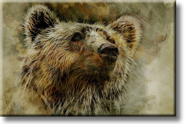 Grizzly Bear Picture on Stretched Canvas, Wall Art Decor, Ready to Hang