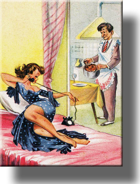 Woman Relaxes, Man Does Housework, Gender Roles Picture on Stretched Canvas, Wall Art Décor, Ready to Hang!