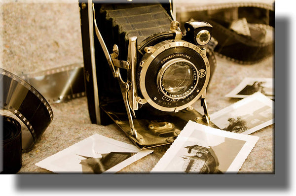 Vintage Photo Camera Picture on Stretched Canvas, Wall Art Decor, Ready to Hang!