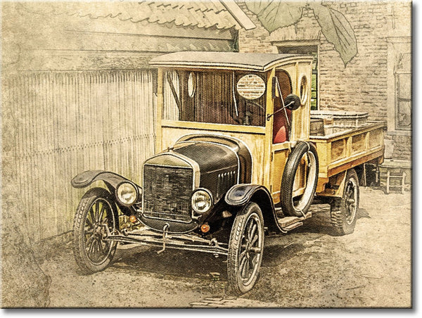 First Ford Truck, Model T Picture on Stretched Canvas, Wall Art Décor, Ready to Hang