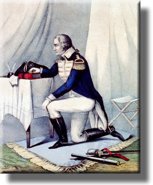 George Washington at Prayer Vintage Picture on Stretched Canvas, Wall Art Décor, Ready to Hang!