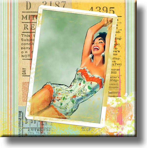 Retro Girl Picture on Stretched Canvas, Wall Art Decor, Ready to Hang!
