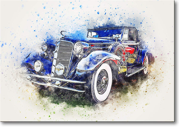 Antique Dark Blue Car Picture on Stretched Canvas, Wall Art Décor, Ready to Hang