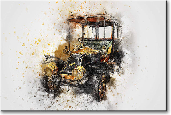 Antique Classic Car Drawing Picture on Stretched Canvas, Wall Art Décor, Ready to Hang