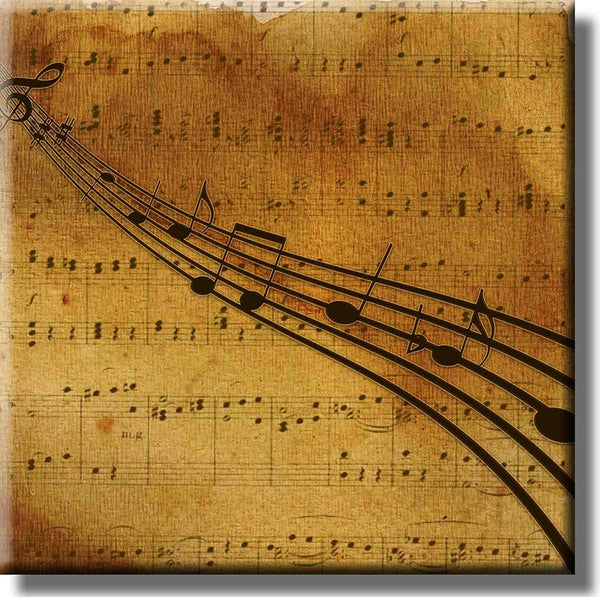 Music Notes Old Photo Picture on Stretched Canvas, Wall Art Decor, Ready to Hang